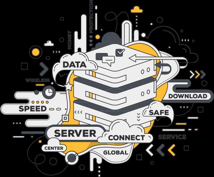 data center stylisé pour représenter la plateforme de location et d'envoi de sms