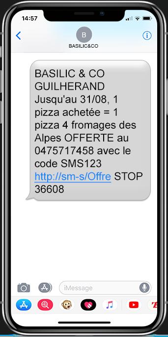 SMS de basilic&co' dans un smartphone