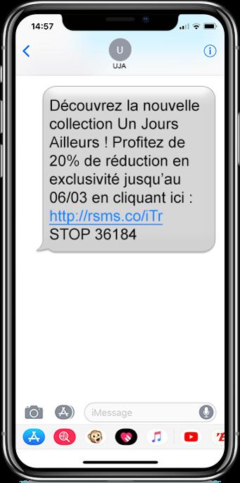 sms commercial d'un jour ailleurs avec Smartphone