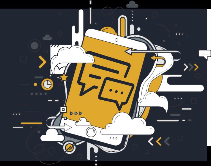 icone de smartphone stylisé représentant une campagne sms marketing