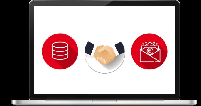 image représentant la monétisation de données, à gauche l'icone des datas, à droite de l'argent et au centre une poignée de main.