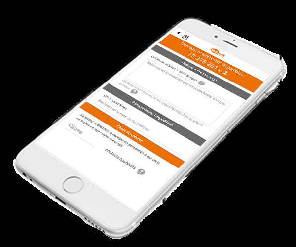 smartphone avec wepak, plateforme d'envoi de sms en masse