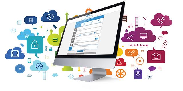 Ordinateur sur la plateforme wedata avec des icones représentants des données dans le cloud en fond
