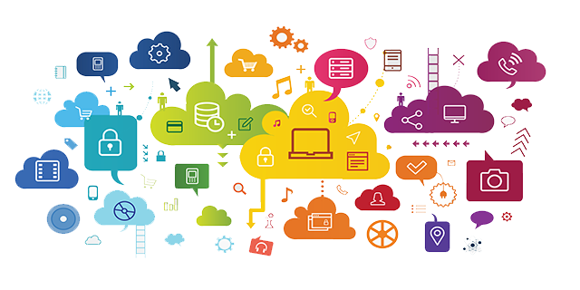 Divers icones représentants des données dans le cloud