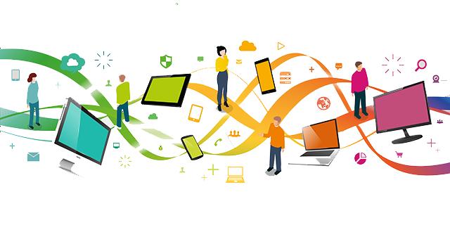 ensembles de pictos représentant des gens, des smartphone, des tablettes, des ordinateurs et des symnôles du mraketing digital