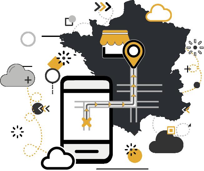 smartphone guidant à un magasin situé en France via drive to store