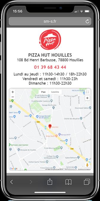 drive to store dans site mobile sur un smartphone