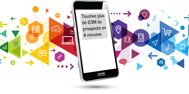 "Smartphone avec SMS ""Touchez 23M de prospects opt'in par SMS en 4 min"" sur fonds d'icones dans l'univers du marketing digital"