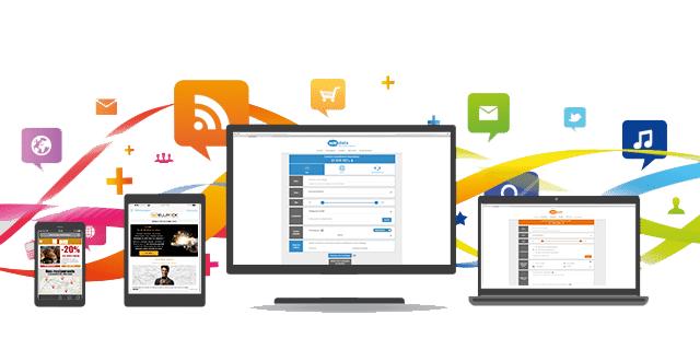 smartphone tablette desktop et ordinateur portable sur fond d'icone multimédia