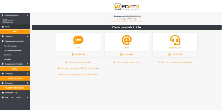 impression d'écran de la page d'accueil de Wepak, la plateforme d'envoi de sms en masse