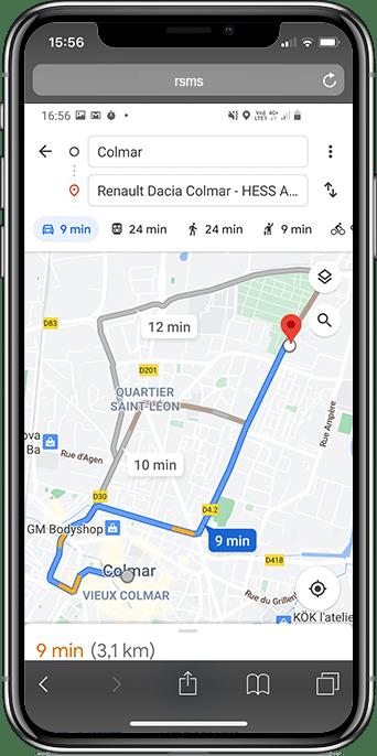 arrivée sur google map pour drive to store
