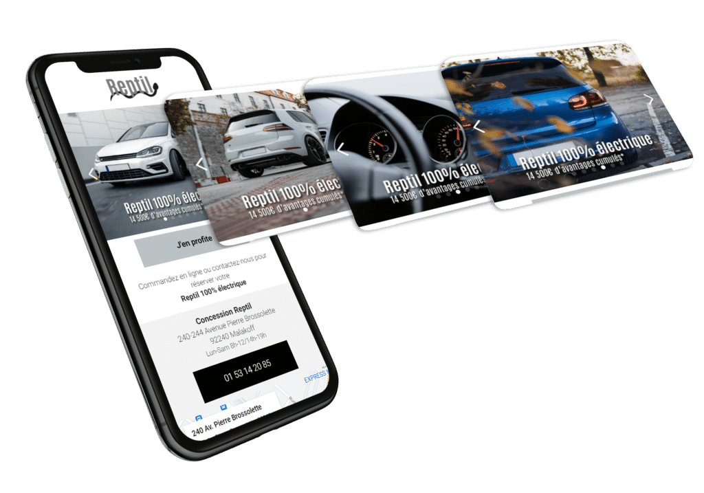 site mobile de publicité avec carousel de plusieurs images d'une voiture