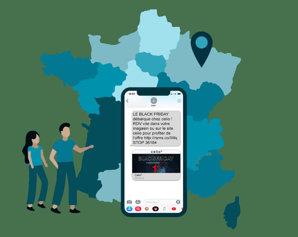 Carte de la France représentant une campagne nationale ciblée